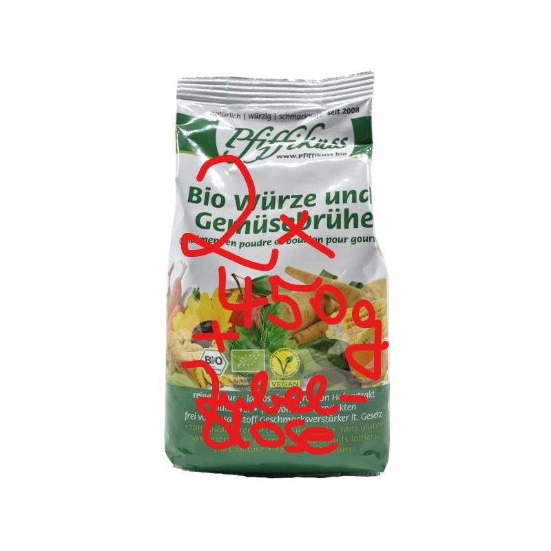 Bio-Würze u. Gemüsebrühe Pfiffikuss, 2x450g Beutel+neue Streudose gratis